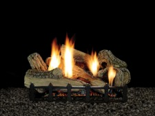 Canyon Ceramic Fiber Gas Log Set on Harmony Burner